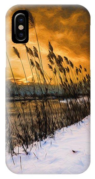 Winter Sunrise Through The Reeds - Artistic IPhone Case