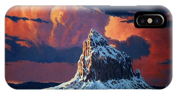 Aztec iPhone Case - Winter Sunset Over Shiprock by Randy Follis