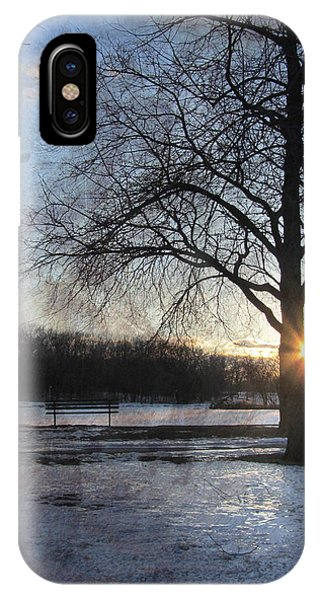 Park Bench iPhone Case - Winter Tree Sunset by Anita Burgermeister