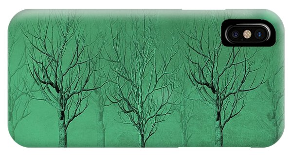 Shrub iPhone Case - Winter Trees In The Mist by David Dehner