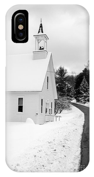 Cold Day iPhone Case - Winter Vermont Church by Edward Fielding