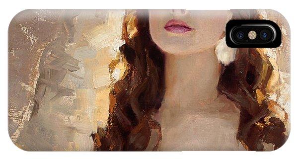 Samantha iPhone Case - Winter Warmth - Impressionistic Portrait by Karen Whitworth