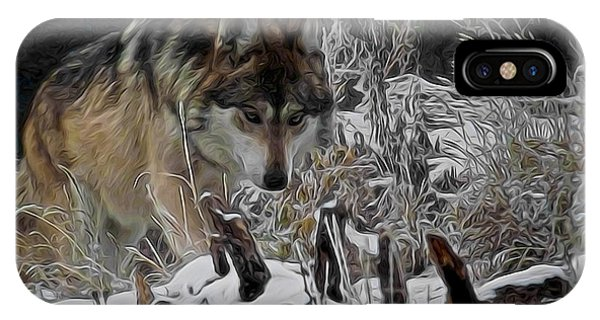 Winter Wolf Digital Art IPhone Case