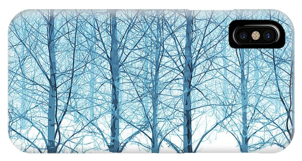 Winter Woodland In Blue IPhone Case
