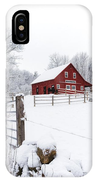 New England Barn iPhone Case - Winter's Morning by Robert Clifford