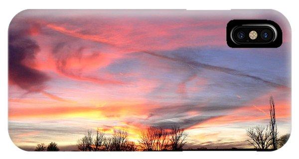 Winters' Sunset Rainbow Phone Case by Cheryl Damschen
