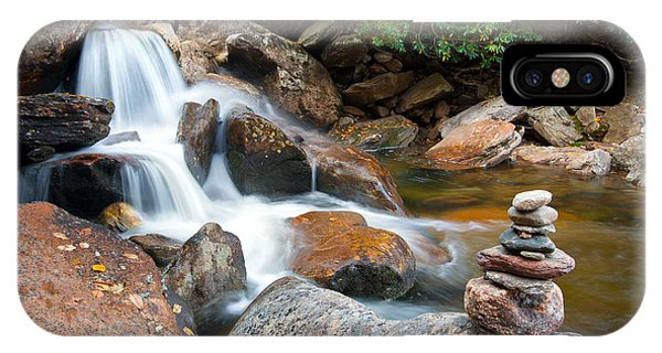 Wnc Flowing Zen Waterfalls Landscape - Harmony Waterfall IPhone Case