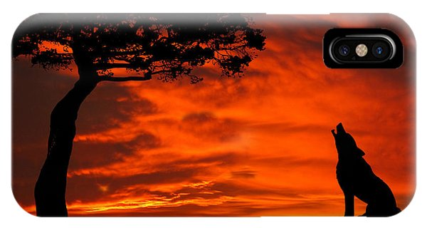 Wolf Calling For Mate Sunset Silhouette Series IPhone Case