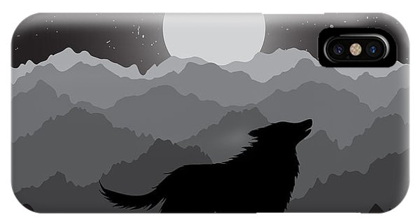 Twilight iPhone Case - Wolf Howling At The Night Moon Standing by Dimonika