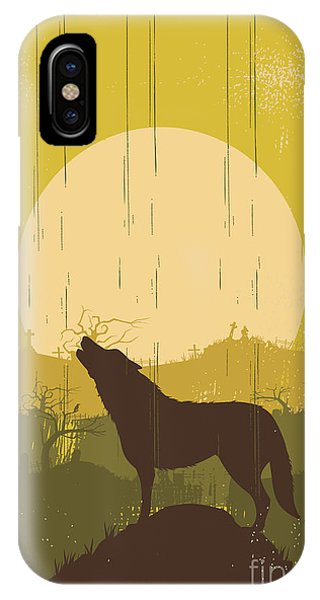 Moonlight iPhone Case - Wolf Howling Background, Vector by Seita