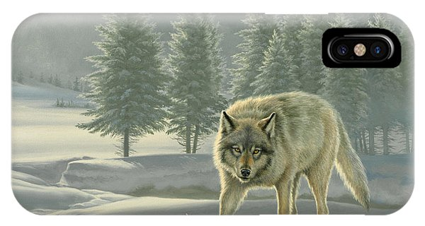 Yellowstone iPhone Case - Wolf In Fog    by Paul Krapf