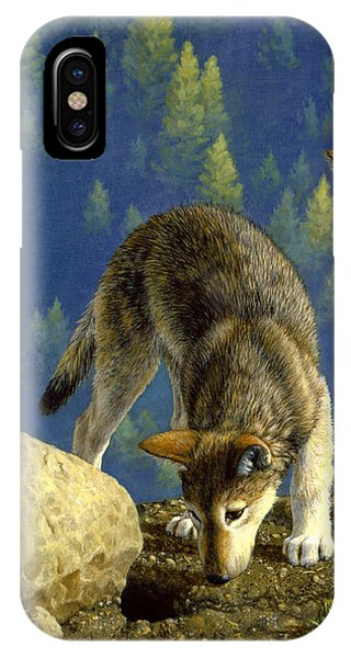 Pup iPhone Case - Wolf Pups - Anybody Home by Crista Forest