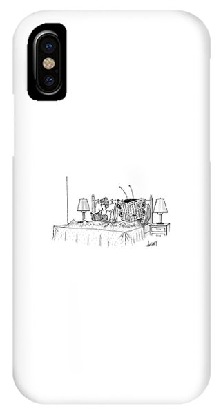 Woman And A Large Insect Read In Bed IPhone Case