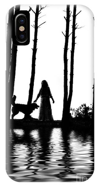 Bernese Mountain Dog iPhone Case - Woman And Dog Silhouettes Water Reflections by Aleksey Tugolukov