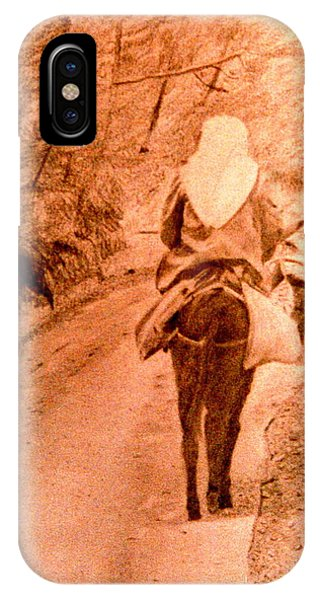 Woman And Donkey-going Home IPhone Case