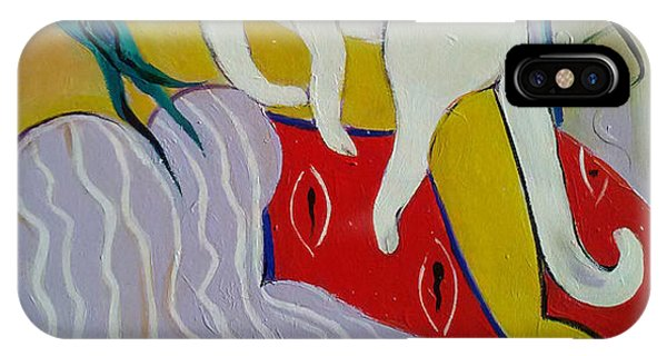 Woman And White Cat Phone Case by Marlene LAbbe