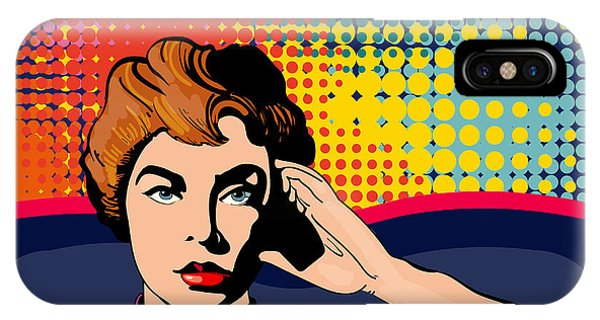 Vector iPhone Case - Woman Driving A Car Pop Art Vector by Intueri