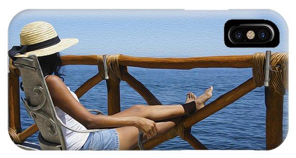 Woman Enjoying The View  IPhone Case