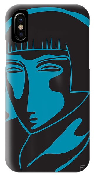 Woman Face  Black And Blue IPhone Case