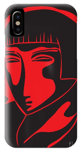 Woman Face  Black And Red IPhone Case