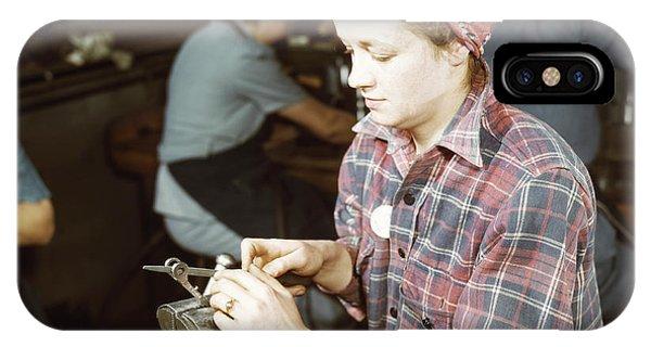 Woman Filing Small Gun Parts, 1943 IPhone Case