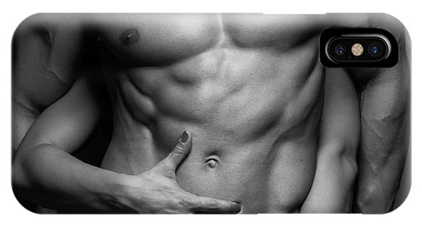 Woman Hands Touching Muscular Man's Body IPhone Case
