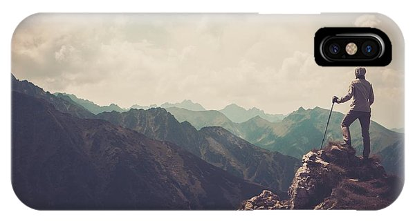 Track iPhone Case - Woman Hiker On A Top Of A Mountain by Nejron Photo