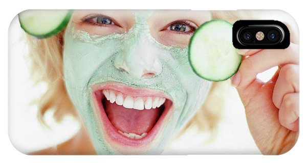 Head And Shoulders iPhone Case - Woman In A Face Mask by Ian Hooton/science Photo Library