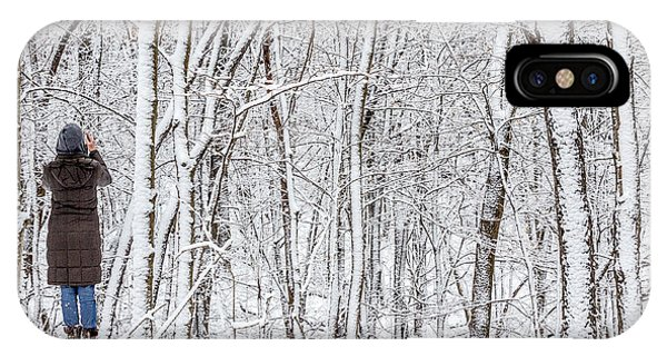 Woman In A Snow Covered Forest IPhone Case