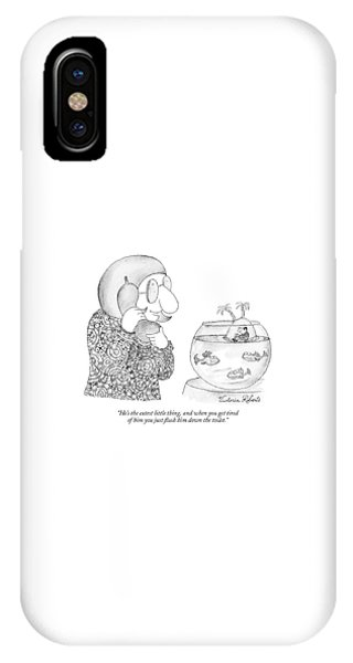 Woman On The Phone Looking At Her Fish Bowl That IPhone Case