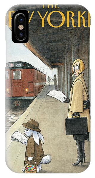 Commute iPhone Case - Woman On Train Platform Looking At Easter Bunny by Harry Bliss