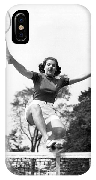 Racquet iPhone Case - Woman Player Leaping Over Net by Underwood Archives