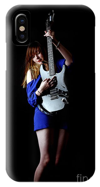 Woman Playing Lead Guitar IPhone Case