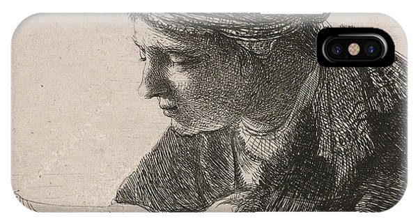 Sketch Book iPhone Case - Woman Reading by Rembrandt