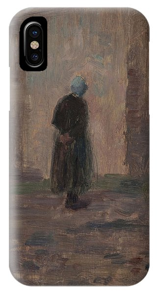 See iPhone Case - Woman Seen From Behind Standing Before A Wall  by Henri Duhem