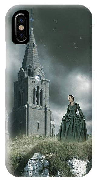 Woman Standing On A Cliff By A Church IPhone Case