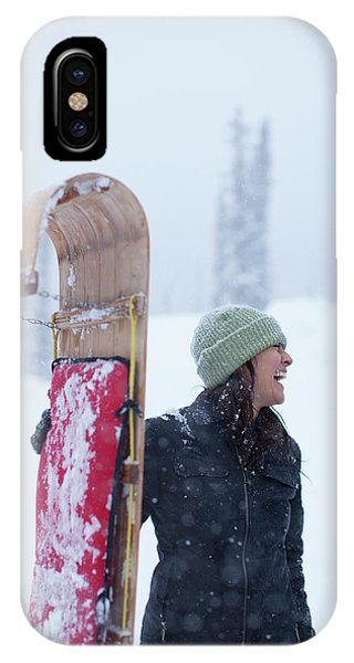 Knit Hat iPhone Case - Woman Standing With Toboggan Sled by Woods Wheatcroft