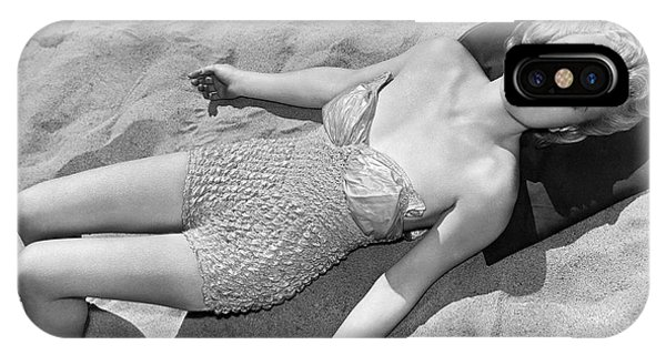 Sunbather iPhone Case - Woman Sun Bathing At The Beach by Underwood Archives