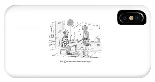 Woman Talking To A Clown Sitting At A Cafe Table IPhone Case