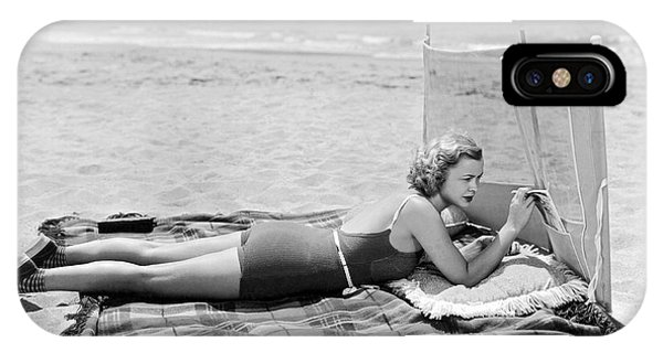 Sunbather iPhone Case - Woman With A Beach Screen by Underwood Archives