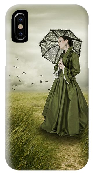 Woman With Parasol Standing In Green Field IPhone Case