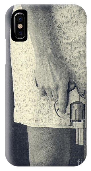 Woman With Revolver IPhone Case
