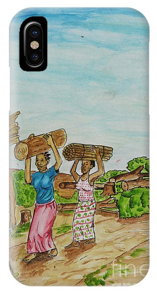 Women Carrying Logs To Cook IPhone Case