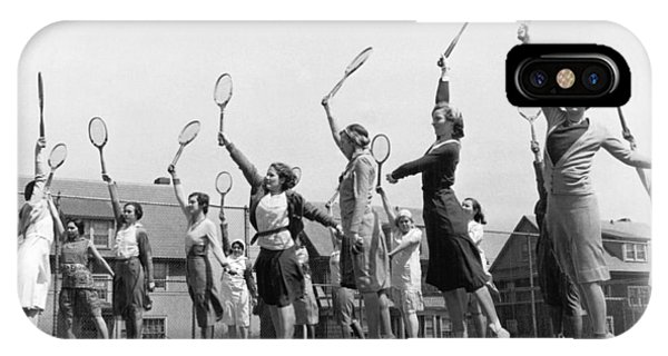Racquet iPhone Case - Women Practicing Tennis by Underwood Archives
