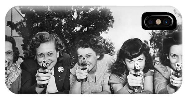Head And Shoulders iPhone Case - Women Take Weapons Training by Underwood Archives