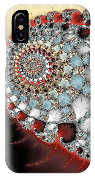 Wonderful Abstract Fractal Spirals Red Grey Yellow And Light Blue IPhone Case