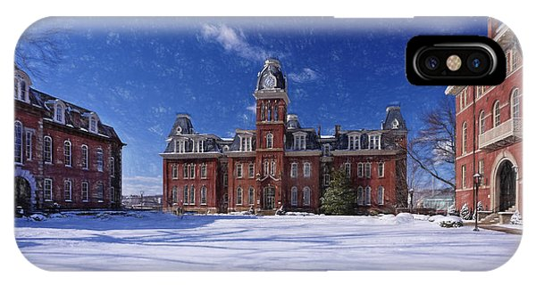IPhone Case featuring the photograph Woodburn Hall In Snow Strom Paintography by Dan Friend