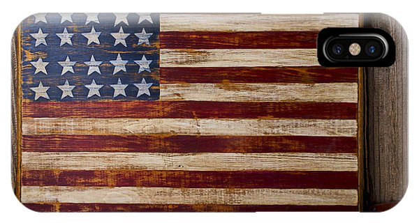 Proud iPhone Case - Wooden American Flag On Wood Wall by Garry Gay