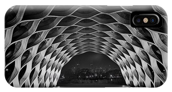 Wooden Archway With Chicago Skyline In Black And White IPhone Case