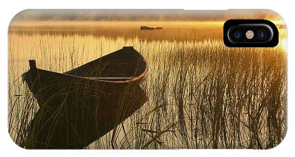 Sunrise iPhone Case - Wooden Boat by Veikko Suikkanen